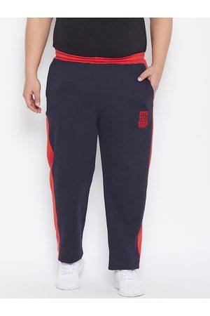 Bigbanana Plus Size Men Navy Blue Orange Colourblocked Straight-Fit Antimicrobial Track Pants