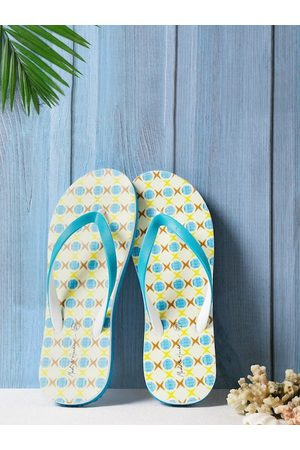 Mast & Harbour Women Blue & White Printed Thong Flip-Flops