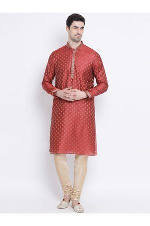 Sanwara Men Red & Gold-Toned Self Design Kurta with Churidar