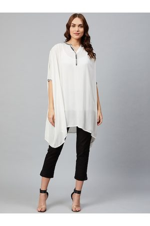 AURELIA Women Off-White Semi-Sheer Solid Kaftan Tunic with Camisole