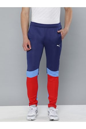 PUMA Men Navy Blue & Red Colourblocked BMW MMS Slim Fit Track Pants