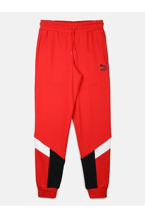 PUMA Men Red & Black Colourblocked Joggers