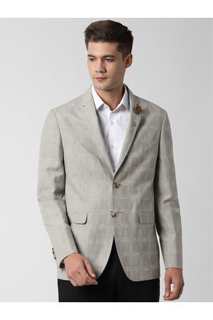 Peter England Men Beige & Grey Checked Slim-Fit Single-Breasted Casual Blazer