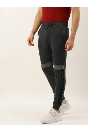 Proline Men Charcoal Grey Slim Fit Solid Joggers with Printed Details