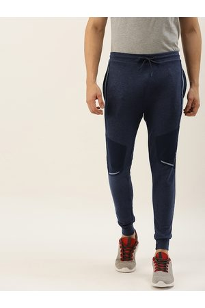 Proline Men Navy Blue Slim Fit Solid Joggers with Printed Detail