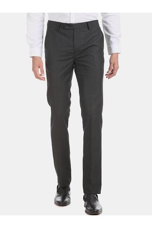 Arrow Men Charcoal Grey Slim Fit Checked Regular Trousers