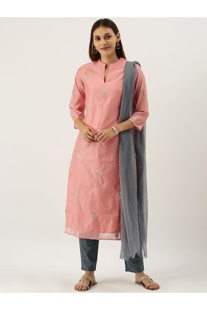 IMARA Women Pink and Grey Embroidered Kurta Set