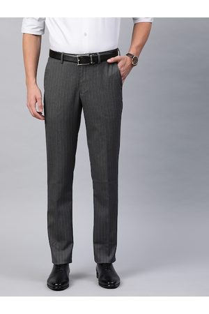 Louis Philippe Men Grey & Purple Slim Fit Striped Formal Trousers