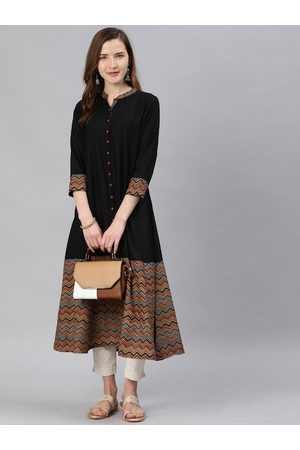 Yash Gallery Women Black & Brown Yoke Design A-Line Kurta