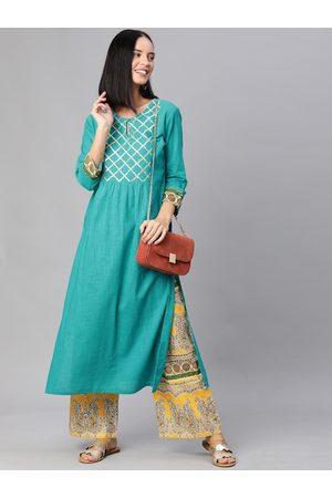 Yash Gallery Women Turquoise Blue & Mustard Yellow Yoke Design Kurta with Palazzos