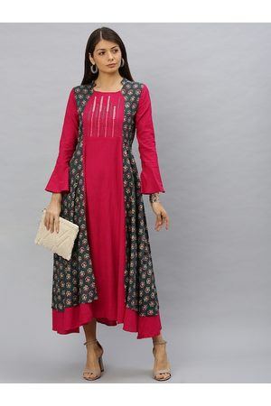 Yash Gallery Women Grey & Pink Embroidered Layered Fit and Flare Dress
