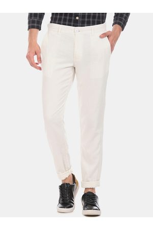 Ruggers Men White Slim Fit Solid Regular Trousers