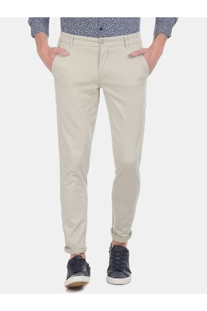 Ruggers Men Beige Slim Fit Solid Regular Trousers