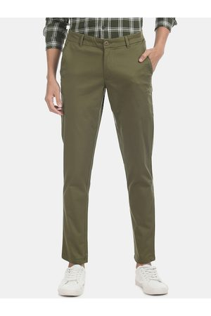 Ruggers Men Green Slim Fit Solid Regular Trousers