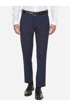 Louis Philippe Men Navy Blue Slim Fit Solid Regular Trousers