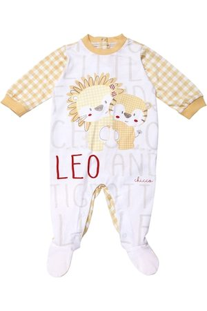 chicco Kids Yellow & White Printed & Checked Sleepsuit