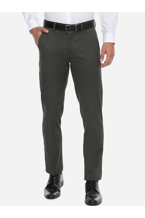 Louis Philippe Men Olive Green Slim Fit Solid Formal Trousers