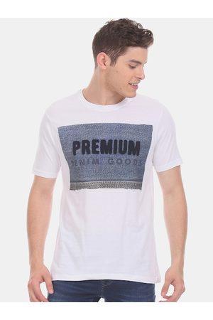 Cherokee Men White Printed Round Neck T-shirt