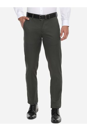 Louis Philippe Men Olive Green Slim Fit Solid Regular Trousers
