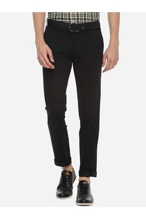 Louis Philippe Men Black Slim Fit Solid Regular Trousers