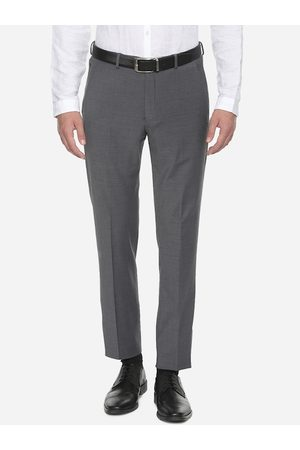 Louis Philippe Men Grey Slim Fit Solid Regular Trousers