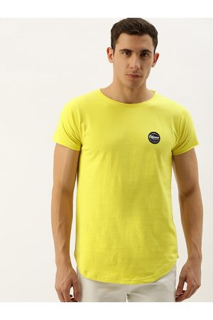 Difference of Opinion Men Yellow Solid Round Neck T-shirt with Applique Detail