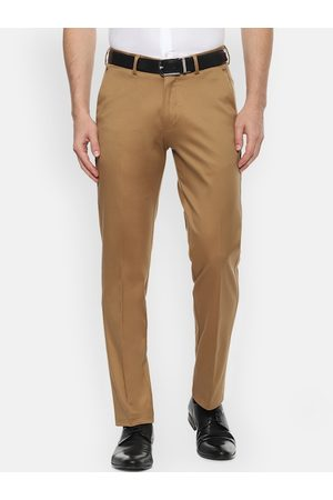 Louis Philippe Men Khaki Slim Fit Solid Regular Trousers