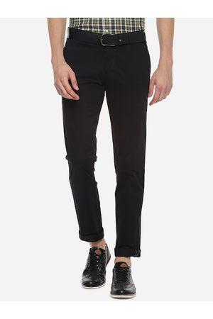 Louis Philippe Sport Men Black Slim Fit Solid Regular Trousers