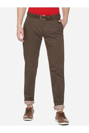 Louis Philippe Men Brown Slim Fit Self Design Regular Trousers
