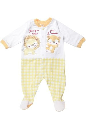 chicco Kids White & Yellow Checked Sleepsuit