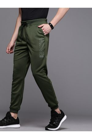 WROGN ACTIVE WROGN Men Olive Green Regular Fit Solid Joggers