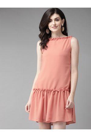 MISH Women Peach-Coloured Solid Drop-Waist Dress