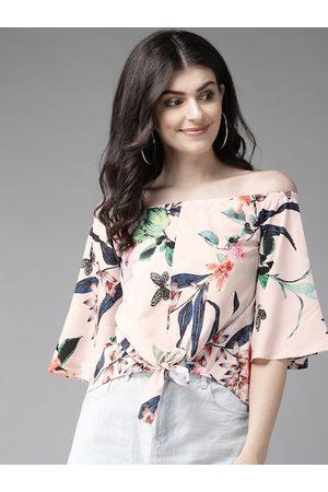 MISH Women Peach-Coloured & Navy Blue Floral Printed Bardot Top