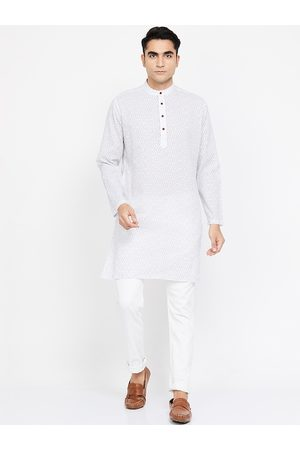 Melange by Lifestyle Men White & Blue Printed Straight Kurta