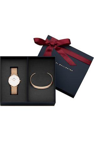 Daniel Wellington Unisex Petite Melrose 36mm & Classic Slim Bracelet Satin White Medium. Watch Gift Set DW00500529