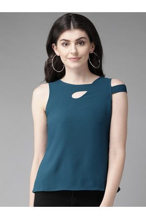 MISH Women Teal Blue Solid Top