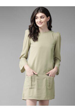 MISH Women Green Solid A-Line Dress
