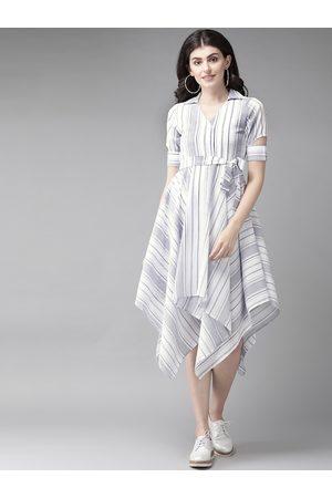 MISH Women White & Blue Striped Asymmetric Hem A-Line Dress