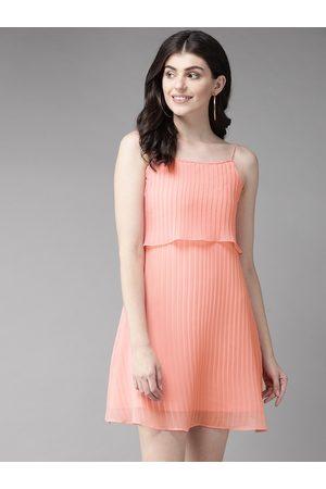 MISH Women Peach-Coloured Solid Accordion Pleats A-Line Dress