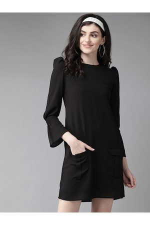 MISH Women Black Solid A-Line Dress