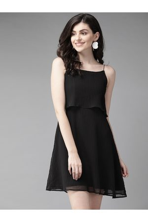 MISH Women Black Solid Accordion Pleated Layered A-Line Dress