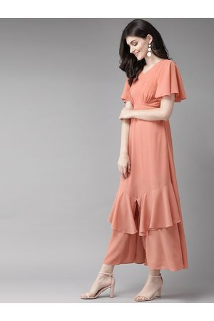 MISH Women Peach-Coloured Solid Maxi Dress