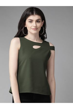 MISH Women Olive Green Solid Top