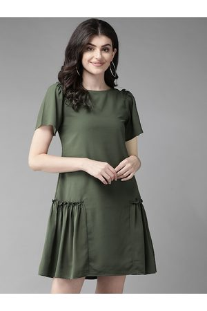 MISH Women Olive Green Solid A-Line Dress