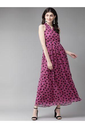 MISH Women Pink & Black Polka Dot Print Maxi Dress