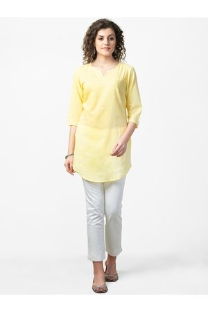 Fab India Women Yellow & White Chikankari Embroidered Semi Sheer Tunic