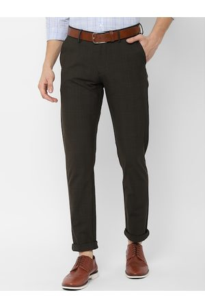 Allen Solly Men Olive Green & Black Slim Fit Checked Regular Trousers