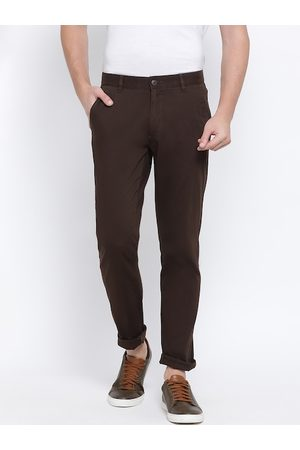 Monte Carlo Men Brown Slim Fit Solid Regular Trousers
