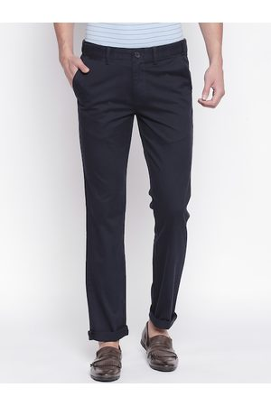 Pantaloons Men Navy Blue Slim Fit Solid Regular Trousers