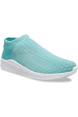 meriggiare Women Sea Green Woven Design Mesh Mid-Top Flyknit Slip-On Sneakers